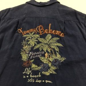 TOMMY BAHAMA Mens Large Blue Silk Shirt